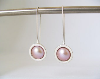 Large Cup Drop Sterling Silver and  Blush Freshwater Pearl Wedding Earrings. Statement Earrings. Long drop earrings. Statement earrings.