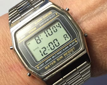 SALE Vintage Stainless CITIZEN Chronograph Wrist Watch Men's Alarm-Chrono Water 50M Resistant  1980s-early 90s Like New