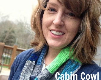PDF Log Cabin Cowl Knitting Pattern Sock Yarn Digital Download Mini Skein Pattern Orange Green Blue Fingering Weight