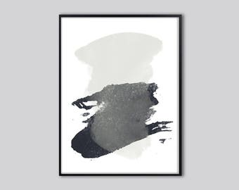 Downloadable print, Minimalist abstract painting print, Black grey watercolor abstract art print, gift for him, free shipping