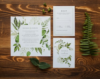 Invitation printable vegetable wedding Invitation & RSVP cards, green, white, green