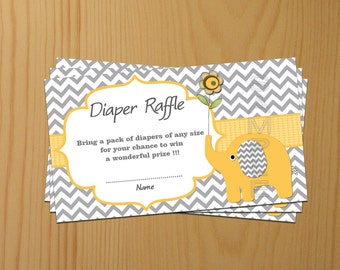 Elephant Baby Shower Diaper Raffle Ticket Diaper Raffle Card Diapers Raffles Baby Shower Games yellow Printable Digital Files