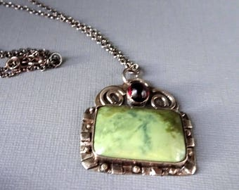 Silver Pendant Necklace, Rectangle Stone Necklace, Green Serpentine Necklace, Tourmaline Necklace, Rustic Handcrafted Jewelry