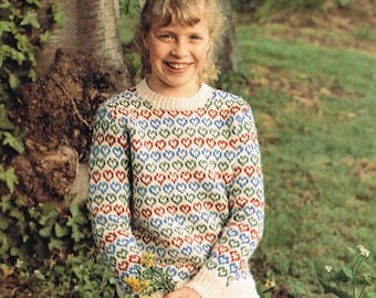 Girl's Round Neck Aran Sweater Jumper Pullover with Hearts Design - Size 66 to 81 cm (26 to 32 inch) - Sunbeam 681 Vintage Knitting Pattern