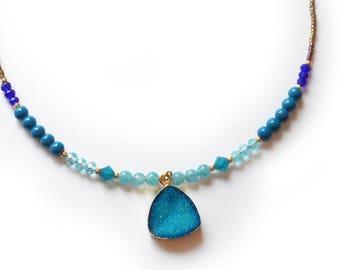 Blue Druzy Necklace with gemstones and swarovski beads/ Ocean Blue Druzy Agate Necklace /  Beaded Gemstone Necklace