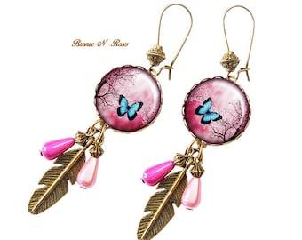 Butterfly flower blue fuchsia gift bronze glass jewel earrings Valentine's day