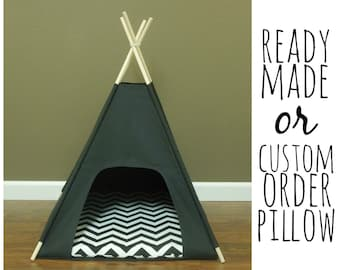 """Cat/Dog Tent Pet Teepee- Small 24"""" base Black Canvas  PICK YOUR PILLOW - Ready to Make or Custom Order it - Tenthouse Suite by Vintage Kandy"""