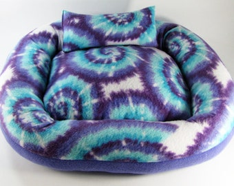 Medium, Tie Dye, Cat bed, Washable pet bed, Dog bed, oval pet bed, Puppy bedding, Kitten bed, Kennel bedding, Plush Fleece pet bed