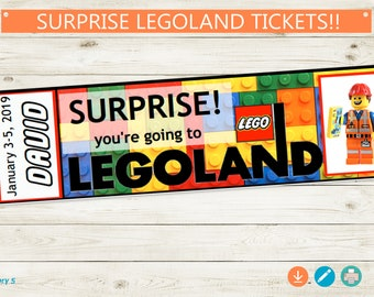 Printable LEGOLAND Ticket // Adobe Reader Editable PDF // Custom Name Trip Reveal Personalize Surprise Lego DIY Digital File vacation pass