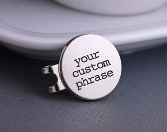 Design Your Own Golf Ball Marker, Custom Golf Gift, Personalized Message Golf Ball Marker with Hat Clip