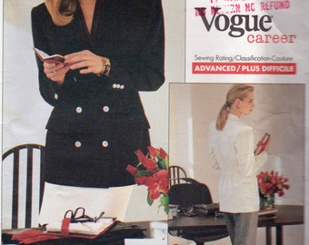 Vogue 2070, Anne Klein ll, Work Wardrobe Pattern, Misses Sizes 6,8, and 10, Double Breasted Jacket, Straight Skirt Tapered Pants Front Pleat