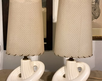 Pair of White Mid Century Ceramic Lamps w/ Shades - PICK UP ONLY
