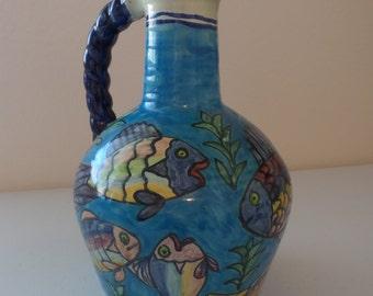 "Hand Crafted Jenecas Mexican Folk Art 10"" Ceramic Pitcher Ocean Sea Life Fish"