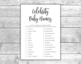 DIGITAL FILE - Celebrity Baby Names - Baby Shower Games - Black and White - BA1007