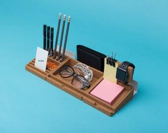 Cork desk organizer set / pen holder / office storage / Apple watch stand / cork decor