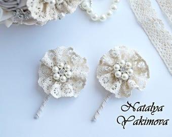 Wedding Boutonniere, Buttonhole, Grooms Boutonniere, Jewelry Boutonniere, Boutonniere, Fabric Boutonniere, cotton, vintage