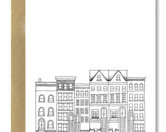 Brooklyn Brownstones (Vertical) - A2 Card (Single or Set of 5)