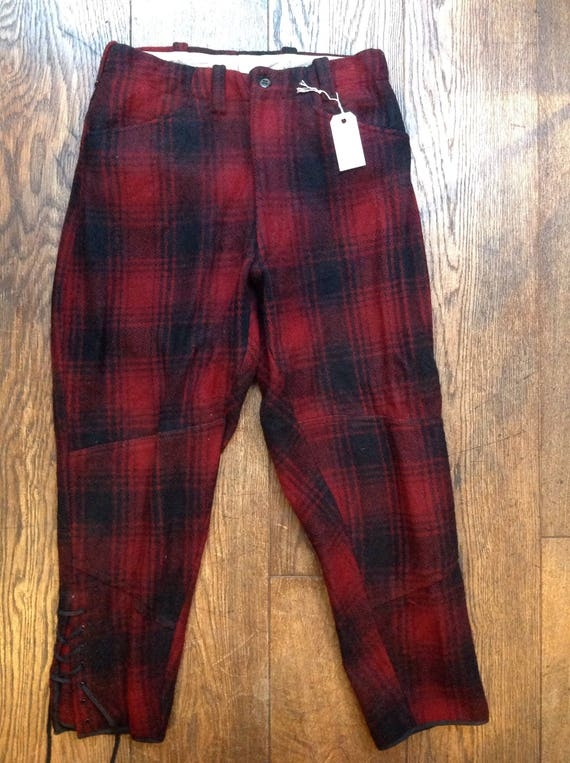 """Vintage 1950s 50s red black checked wool hunting trousers breeches leg laces Talon zipper 30"""" x 26"""" rockabilly brace buttons"""
