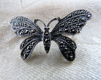 Sterling marcasite butterfly brooch pin hallmarked 925 - sterling silver marcasite encrusted