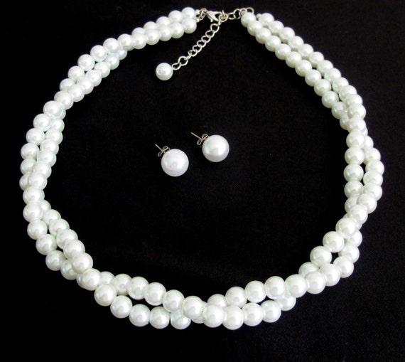 White Pearl Necklace Stud Earrings Twisted Pearl Necklace  Earrings Pearl Post Studs White Twisted Necklace Free Shipping In USA