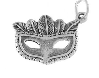 Sterling Silver New Orleans Mardi Gras Masquerade Mask Charm (Flat Charm)