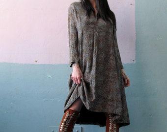 Vtg 70s Silk Dress
