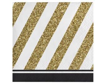 Cake Napkins - Black and Gold Birthday - Bachelorette Party Decorations - Graduation Napkins - Milestone Napkins - New Years Party - Gold