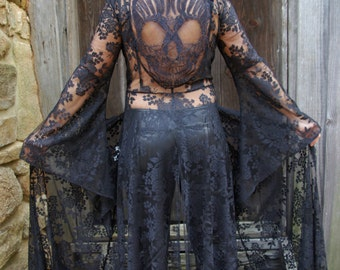 Made to Order****Black Lace Robe, Lingerie, Elegant Evening Coat, Dia de los Muertos, Skull, Day of the Dead,Black Robe