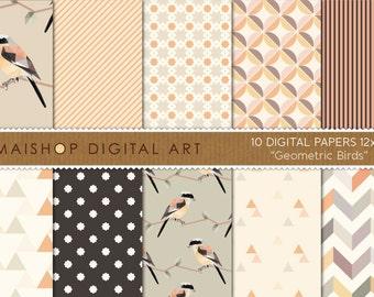 Digital Paper 'Geometric Birds' Beige, Cream, Orange, Green... Chevron, Triangles, Stripes... Digital Backgrounds for Scrapbook, Crafts...