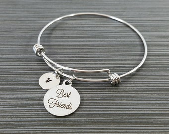 Best Friends Bangle - Best Friend Charm Bracelet - Expandable Charm Bracelet - Initial Bracelet - Best Friend Bracelet - Friendship Bracelet