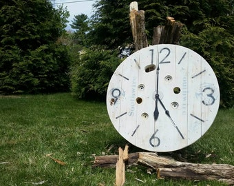 "Nantucket Spool Clock - 33"" Large Face Wire Spool Clock - Hand Painted and Stenciled - Includes Mounting Hardware"