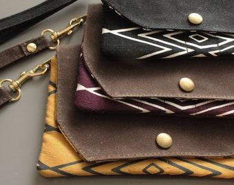Casablanca Wallet. Waxed canvas wallet. Phone holder. Vegan wallet. Southwestern style. Geometric print. Clutch/wallet