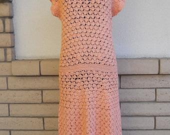 Vintage 60s 70s Crocheted Dress . Peach Maxi Dress . Sheer Open Weave Dress XS-S