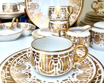 Art Deco Tea Trio Set Gold Set of Six, Twenty Three Pieces