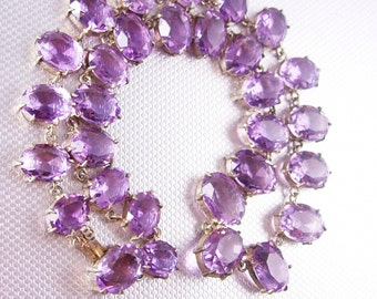 Reserved for Urs GORGEOUS Amethyst Deco Necklace sterling with open backs and HUGE stones