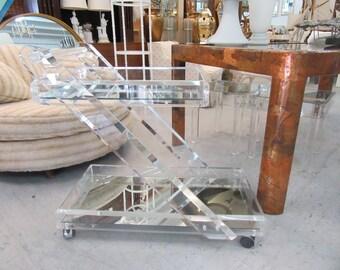 Glam Modern Lucite Z Bar Cart