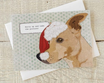 Holiday funny dog greeting card, Hurry up and take the picture. Dog in Santa Hat. Spokesperson for Christmas. Eat your heart out Santa.