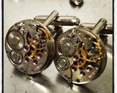Steampunk vintage wristwatch part cufflinks, fathers Day gift, cufflinks wedding
