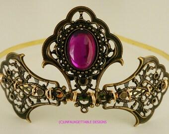 Tudor Medieval Amethyst Purple Elaborate Tiara larp ren sca Tudor Wedding