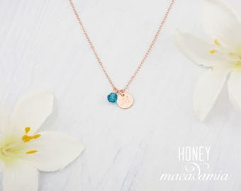 Choose sterling silver, rose gold filled or gold filled, personalized initial and birthstone necklace. Dainty initial and birthstone necklac