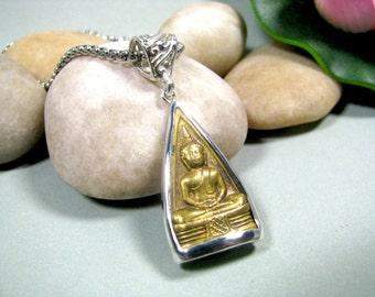 Buddha Amulet - Sterling Silver, Brass, Buddha, Bezel Setting, Protection Amulet, Lucky Charm, Buddha Necklace, Buddhist Jewelry, Talisman