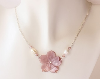 Plumeria Shell Necklace, Pearl Plumeria Necklace, Hawaiian Necklace, Tropical Necklace, Beach Wedding Necklace, Bridesmaid Gift, Frangipani