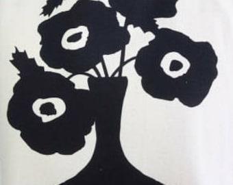 Black Poppie Tea Towel