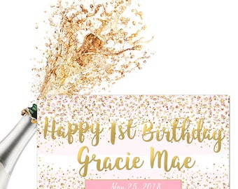 Personalized Birthday Labels / Custom Champagne Labels / Pink Gold Confetti / Wedding Labels / Bridesmaid Labels / Waterproof Labels