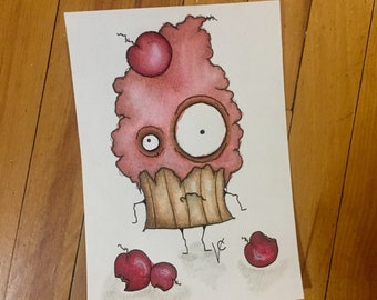 Pink Cherry Cupcake Original 5x7 Art Illustration