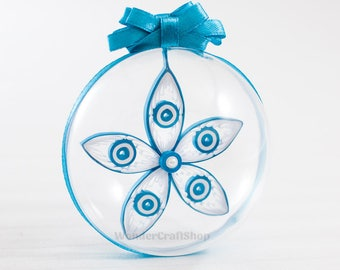 Christmas Gift for Godmother Godfather, blue white christmas ornment, clear ornament, holiday decoration, keepsake ornament, xmas decor