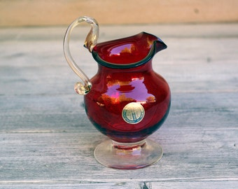 Murano Venetian Red Glass Pitcher Italy