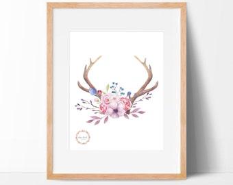 Floral Deer Antlers Wall Print_0027WP