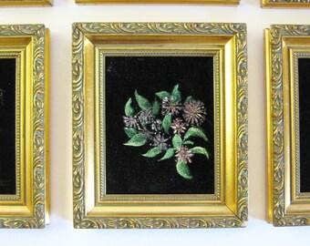 Mayflower Painting - Framed Botanical Art - Vintage Flower Painting - Black Velvet Art - Nova Scotia Provincial Flower - Gold Wall Decor