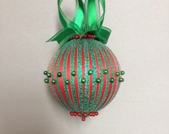 Red Wrapped with Green Glitter Ribbon Christmas OrnamentHandcrafted